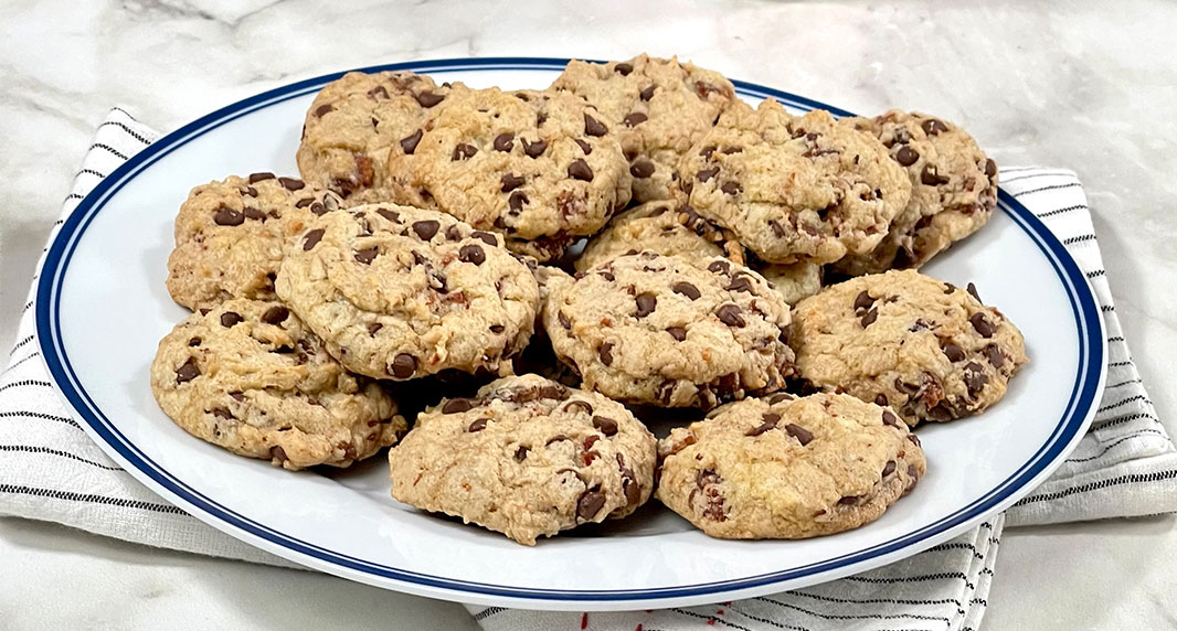 Cheerwine Candied Bacon Chocolate Chip Cookies
